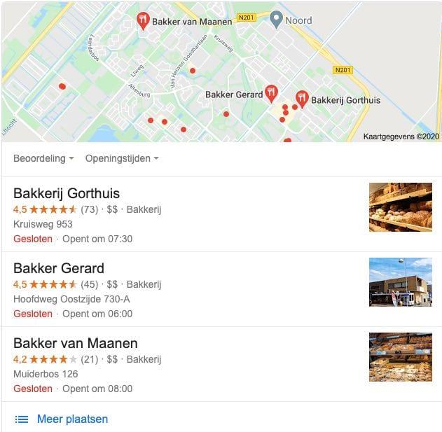 Website bakkerij google mijn bedrijf