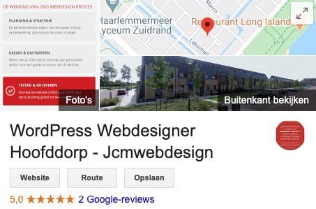 vermelding wordpress webdesigner Jcmwebdesign op Google mijn bedrijf