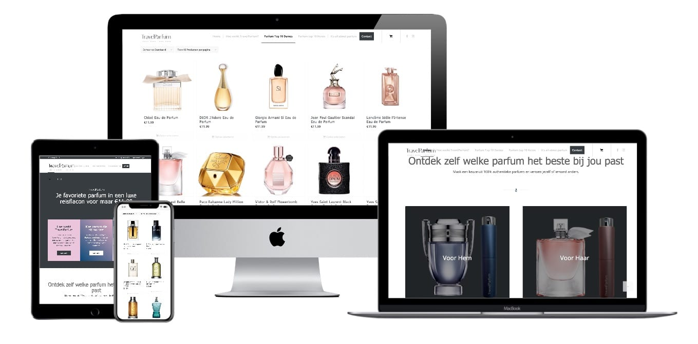 Wordpress Woocommerce webdesigner portfolio TravelParfum